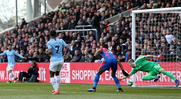 Raheem Sterling scored twice as Manchester City beat Crystal Palace (Steven Paston/PA)