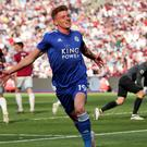Harvey Barnes celebrates his late equaliser (Yui Mok/PA)