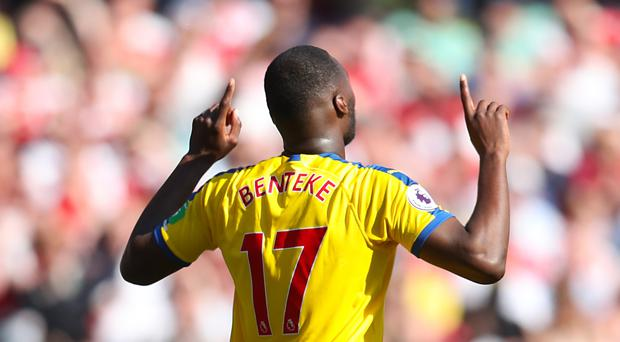 782c32c8c Crystal Palace s Christian Benteke celebrates scoring his side s first goal  of the game during the Premier
