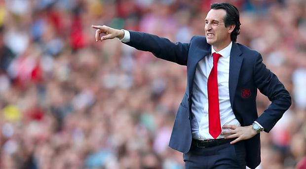 Unai Emery gestures on the touchline during today's game (Bradley Collyer/PA)