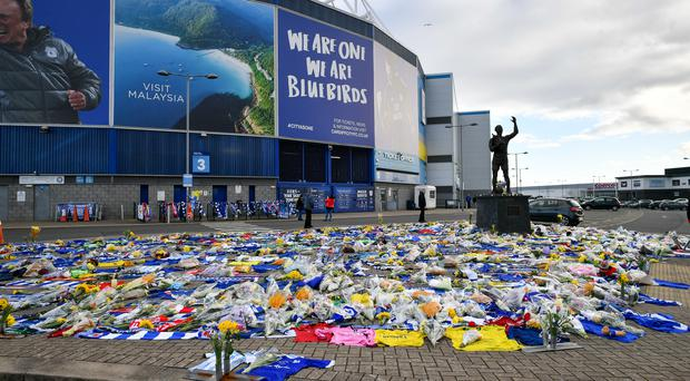Cardiff fans dedicated tributes to Emiliano Sala outside the Cardiff City Stadium (Ben Birchall/PA)