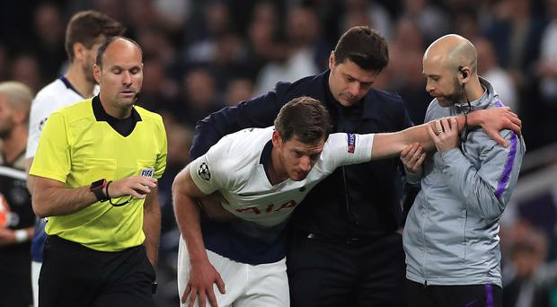 Tottenham defender Jan Vertonghen was due to undergo further assessment on the head injury he suffered against Ajax (Mike Egerton/PA).