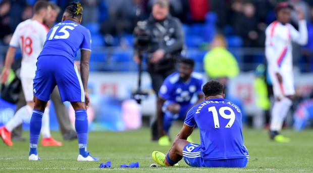 Cardiff players appear dejected after losing their battle against relegation (Simon Galloway/PA)