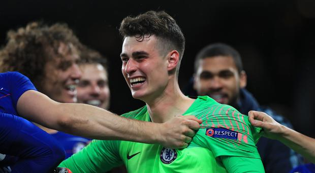 Kepa Arrizabalaga, pictured, was the hero of Chelsea's penalty shoot-out against Eintracht Frankfurt (Mike Egerton/PA)