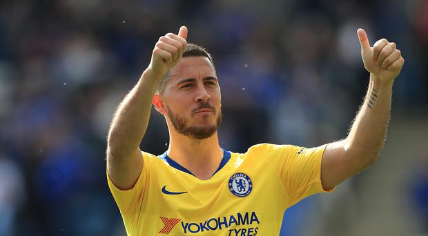 Chelsea's Eden Hazard acknowledges the travelling fans after the draw at Leicester. (Mike Egerton/PA)