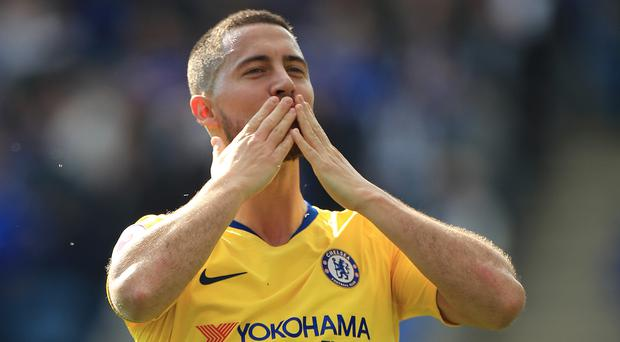 Chelsea's Eden Hazard acknowledges the away fans at Leicester (Mike Egerton/PA)