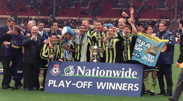 Manchester City beat Gillingham in a dramatic play-off in 1999 (Tony Harris/PA)