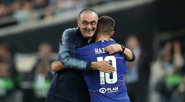 Maurizio Sarri, left, is a target for Juventus (Bradley Collyer/PA)