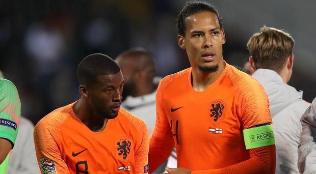 Virgil Van Dijk, right, captained Holland at the Nations League finals (Tim Goode/PA)
