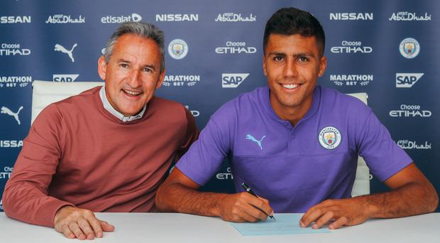 Rodri, right, became Manchester City's record signing on Thursday (Manchester City/PA)
