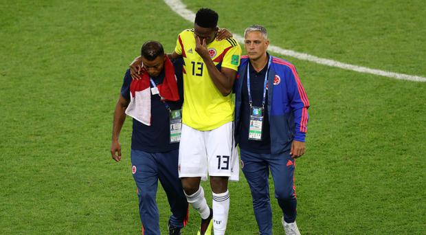 Yerry Mina (centre) is facing an FA charge (PA)