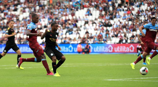 Raheem Sterling took the match ball home from the London Stadium (Adam Davy/PA)