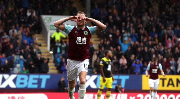 Ashley Barnes celebrates scoring his second goal (Martin Rickett/PA)