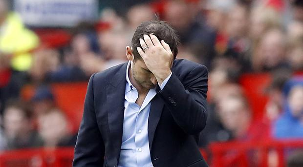 Chelsea manager Frank Lampard during the Premier League match at Old Trafford, Manchester.