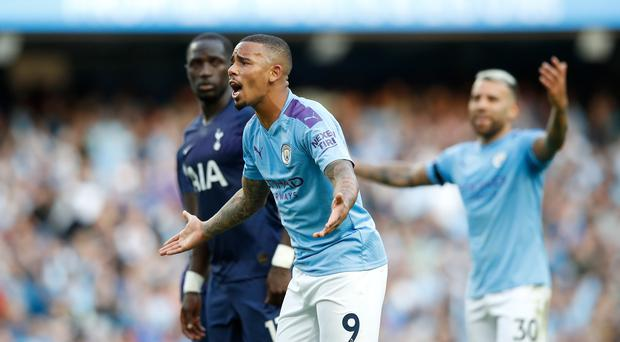 Gabriel Jesus reacts after his goal against Tottenham is disallowed (Martin Rickett/PA)
