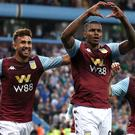 Aston Villa's Wesley celebrates his opener in the 2-0 win over Everton (Nick Potts/PA)