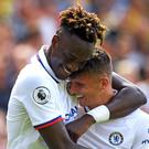 Chelsea goalscorers Tammy Abraham (left) and Mason Mount celebrate (Joe Giddens/PA).