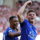 Harvey Barnes, right, celebrates his stunning winner (Richard Sellers/PA)