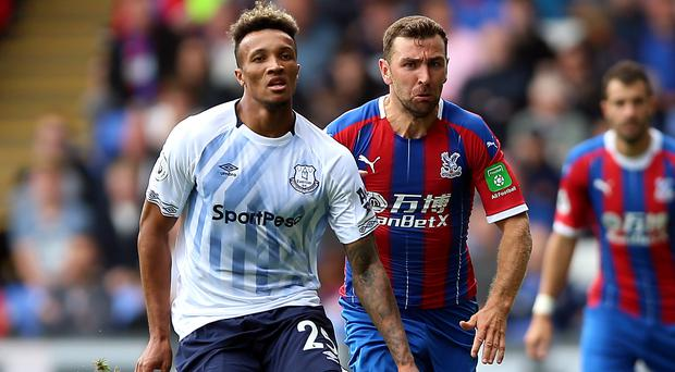 Everton midfielder Jean-Philippe Gbamin (left) has been ruled out for eight weeks (Nigel French/PA)