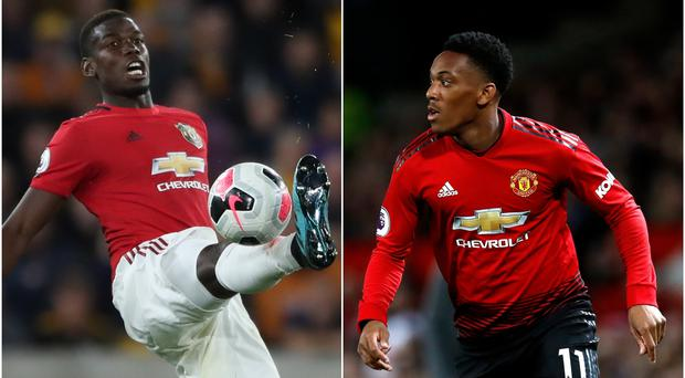 Paul Pogba, left, and Anthony Martial have been ruled out of Manchester United's game against Leicester (Nick Potts/PA)