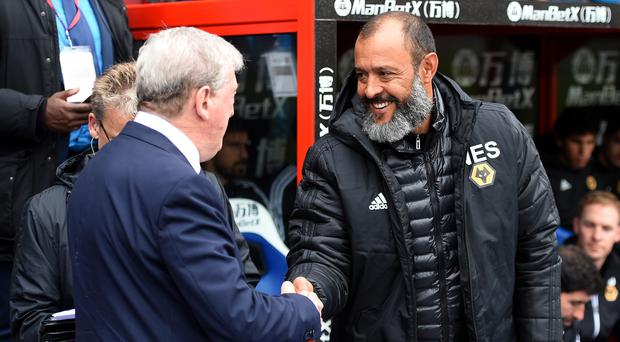 Nuno Espirito Santo (right) hailed the spirit of his Wolves team after they earned a point at Crystal Palace (Daniel Hambury/PA).