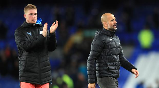 Manchester City'manager Pep Guardiola was pleased his team were able to flollow Liverpool's win with a victory of their own (Peter Byrne/PA)