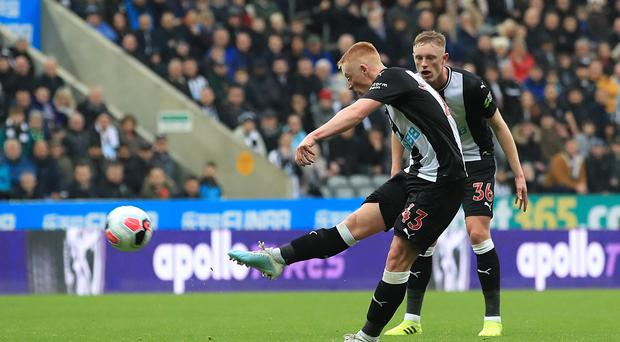Matty Longstaff fired Newcastle to victory over Manchester United on his Premier League debut (Owen Humphreys/PA)