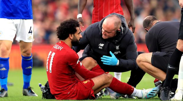 Liverpool forward Mohamed Salah sustained a twisted ankle in Saturday's win over Leicester (Peter Byrne/PA)