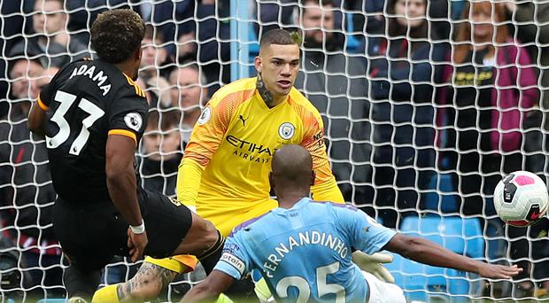 Manchester City were stunned by two late goals from Wolves' Adama Traore (Nick Potts/PA)