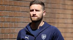Arsenal defender Shkodran Mustafi has yet to play in the Premier League this season. (Nigel French/PA)