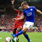 Leicester City's Ben Chilwell and Liverpool's Sadio Mane battle for the ball (Peter Byrne/PA)