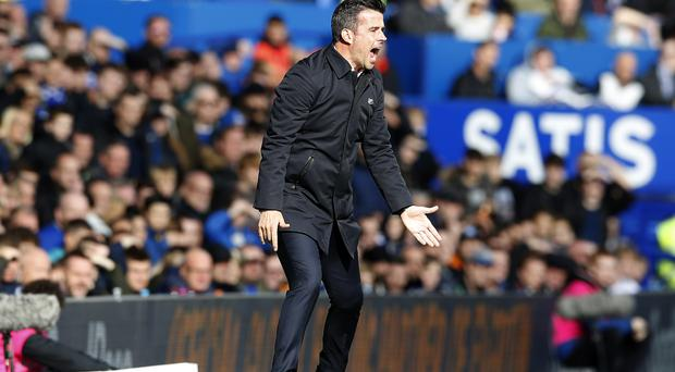 Everton manager Marco Silva shouts from the touchline during the Premier League match at Goodison Park.