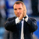 Going well: Brendan Rodgers applauds the Leicester fans