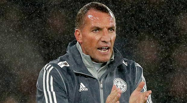 Brendan Rodgers urges his team on against Southampton (Andrew Matthews/PA)