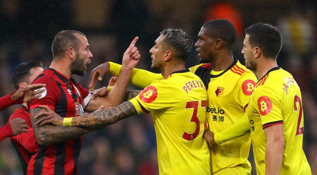 Watford and Bournemouth players squared up during their 0-0 draw at Vicarage Road (Aaron Chown/PA)