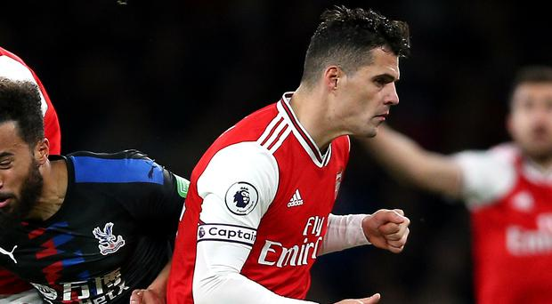 Granit Xhaka was not happy with Arsenal fans on Sunday afternoon (Nigel French/PA)