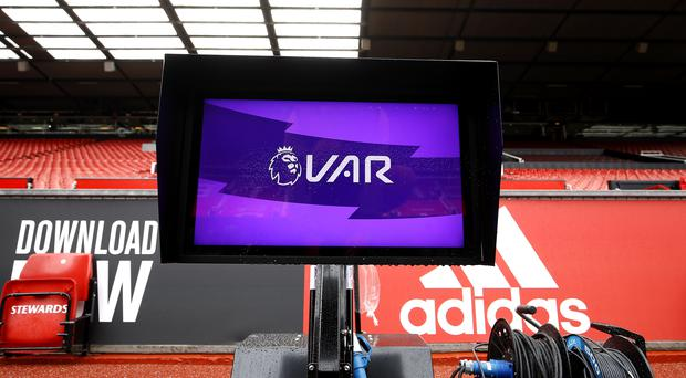 A pitchside monitor at Old Trafford before Manchester United's opening Premier League game of the season against Chelsea (Martin Rickett/PA)