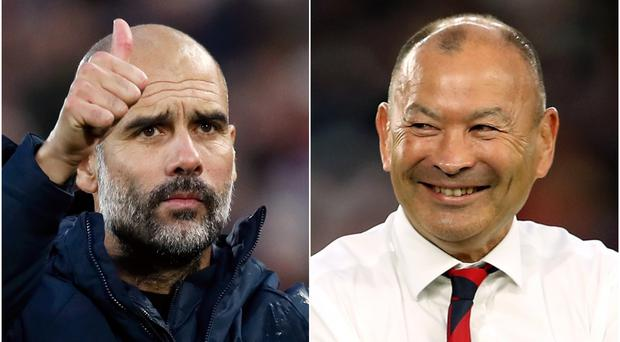Pep Guardiola is hoping for a visit from Eddie Jones after the World Cup final (Martin Rickett/David Davies/PA)