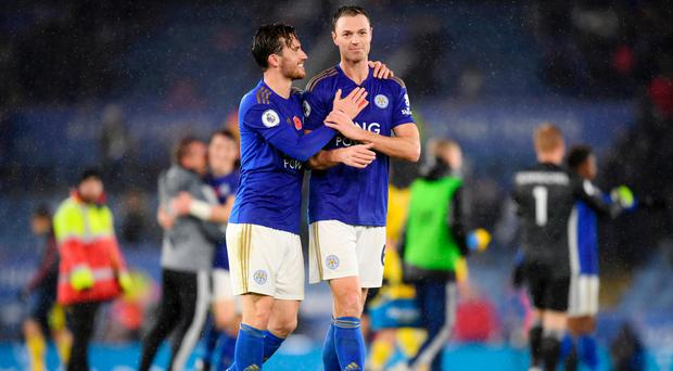 Delight: Jonny Evans and Ben Chilwell after Arsenal win