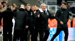 Steve Bruce, second right, celebrates victory over Bournemouth (Owen Humphreys/PA)