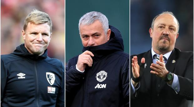 Eddie Howe, Jose Mourinho and Rafael Benitez have all been linked with the Tottenham manager's job (Tim Goode/Mike Egerton/Nick Potts/PA).