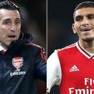 Earlier this season, Unai Emery (left) said Lucas Torreira was the best Arsenal player at pressing the opposition (Nick Potts/Nigel French/PA)