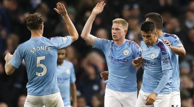 Kevin De Bruyne (centre) equalised in the first half for Manchester City (Martin Rickett/PA)