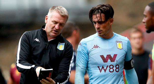 Aston Villa manager Dean Smith (left) believes Jack Grealish will be an England player one day. (Darren Staples/PA)