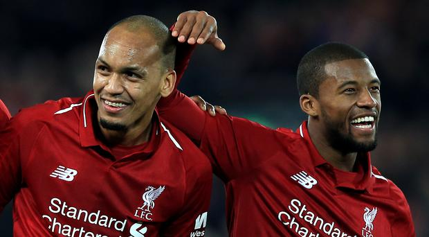 Georginio Wijnaldum, right, admits losing Fabinho to injury would be a blow for Liverpool (Peter Byrne/PA)