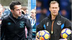 Duncan Ferguson, right, takes temporary charge after Marco Silva's sacking (Gareth Fuller/Dave Howarth/PA)