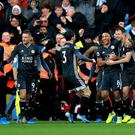 Leicester celebrate Jonny Evans' goal in their 4-1 win at Aston Villa. (Mike Egerton/PA)