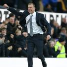 Duncan Ferguson celebrated victory over Chelsea in his first game in caretaker charge of Everton (Nigel French/PA)