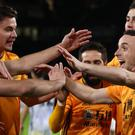 Wolves' Diogo Jota, second right, celebrates his opener in the 4-0 win over Besiktas (Nick Potts/PA)