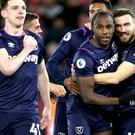 Michail Antonio, second right, helped West Ham win at Southampton (Steven Paston/PA)